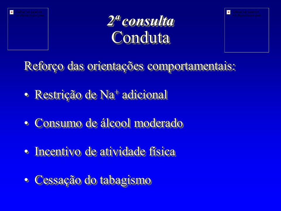 Conduta 2ª consulta Reforço das orientações comportamentais: