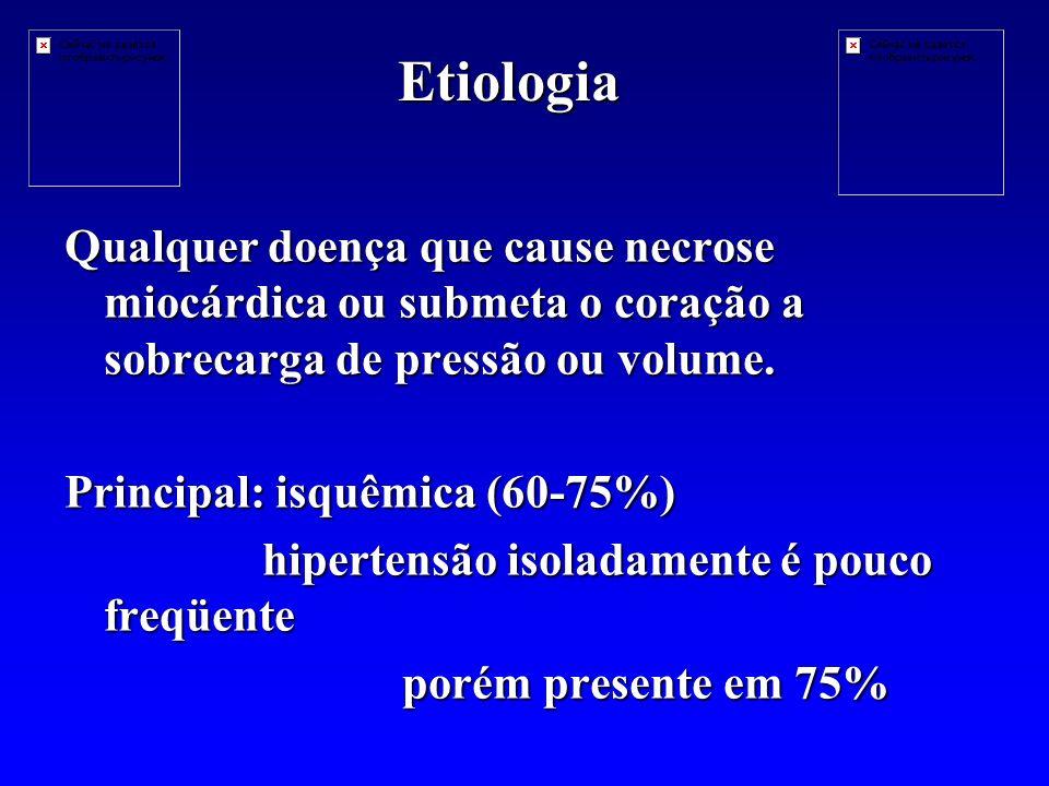 Etiologia Qualquer doença que cause necrose miocárdica ou submeta o coração a sobrecarga de pressão ou volume.