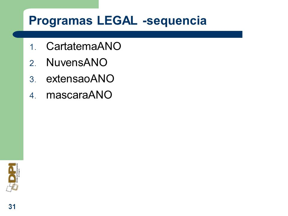 Programas LEGAL -sequencia