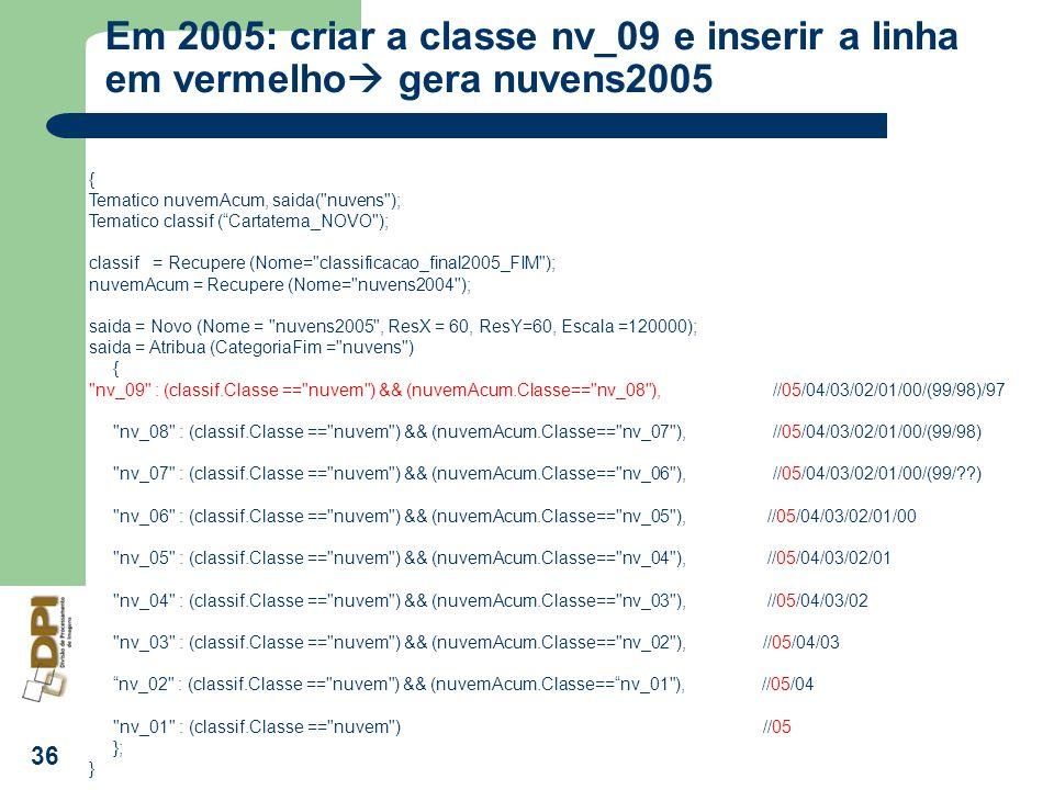 Em 2005: criar a classe nv_09 e inserir a linha em vermelho gera nuvens2005