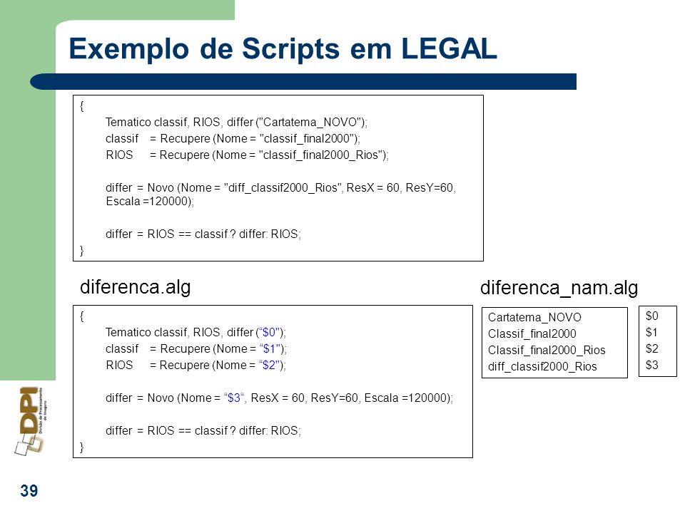 Exemplo de Scripts em LEGAL