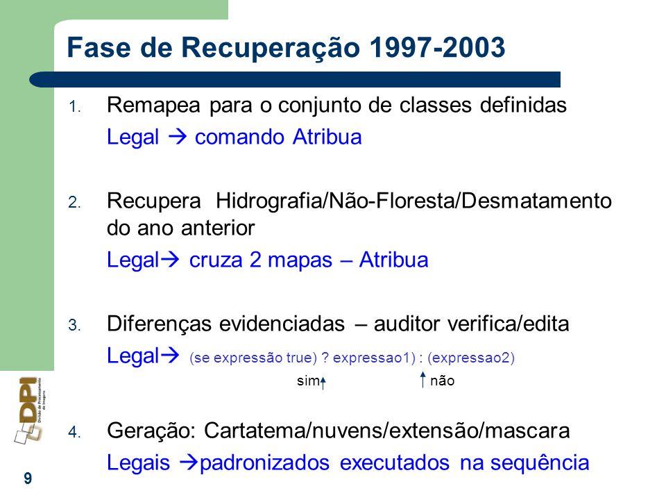 Fase de Recuperação 1997-2003 Remapea para o conjunto de classes definidas. Legal  comando Atribua.