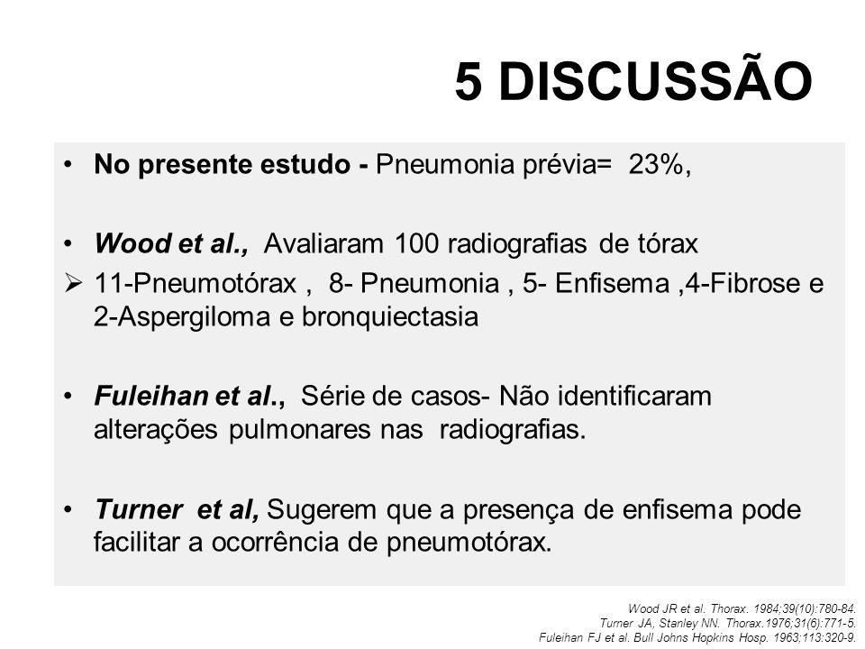 5 DISCUSSÃO No presente estudo - Pneumonia prévia= 23%,