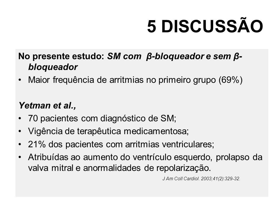 5 DISCUSSÃO No presente estudo: SM com β-bloqueador e sem β-bloqueador