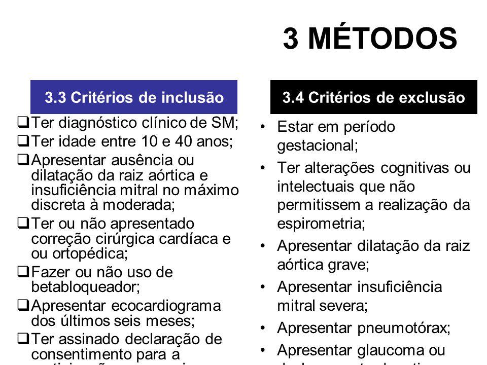3 MÉTODOS 3.3 Critérios de inclusão 3.4 Critérios de exclusão
