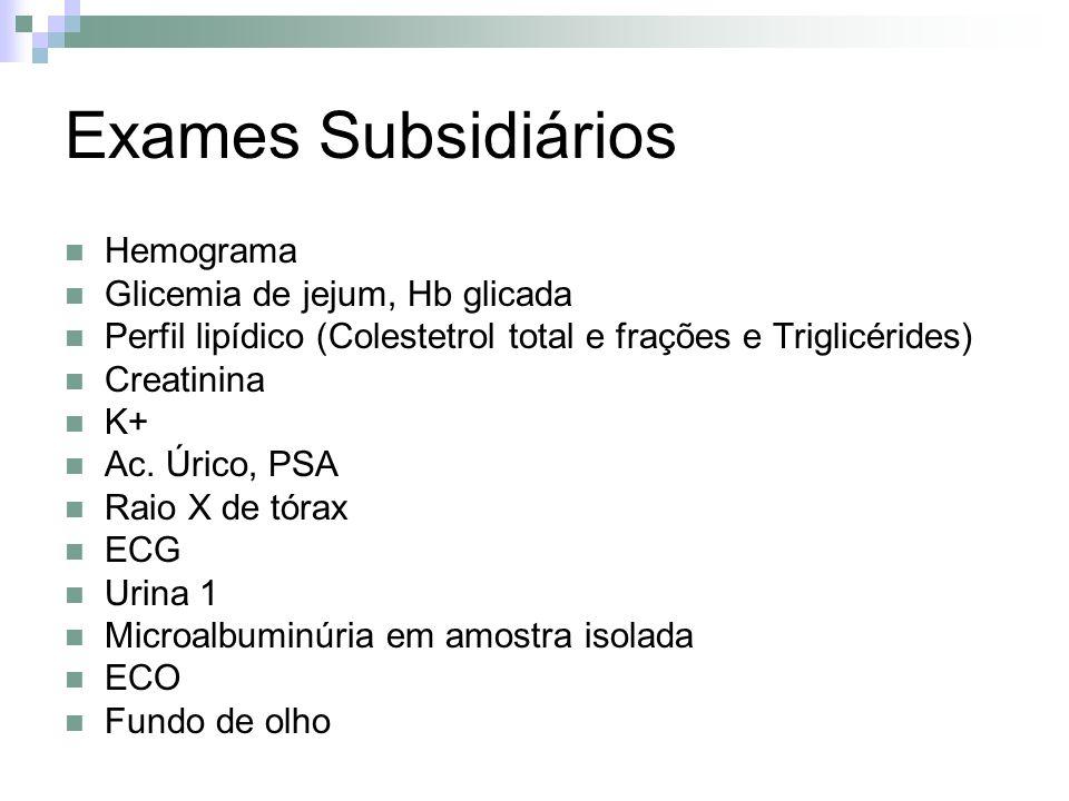 Exames Subsidiários Hemograma Glicemia de jejum, Hb glicada
