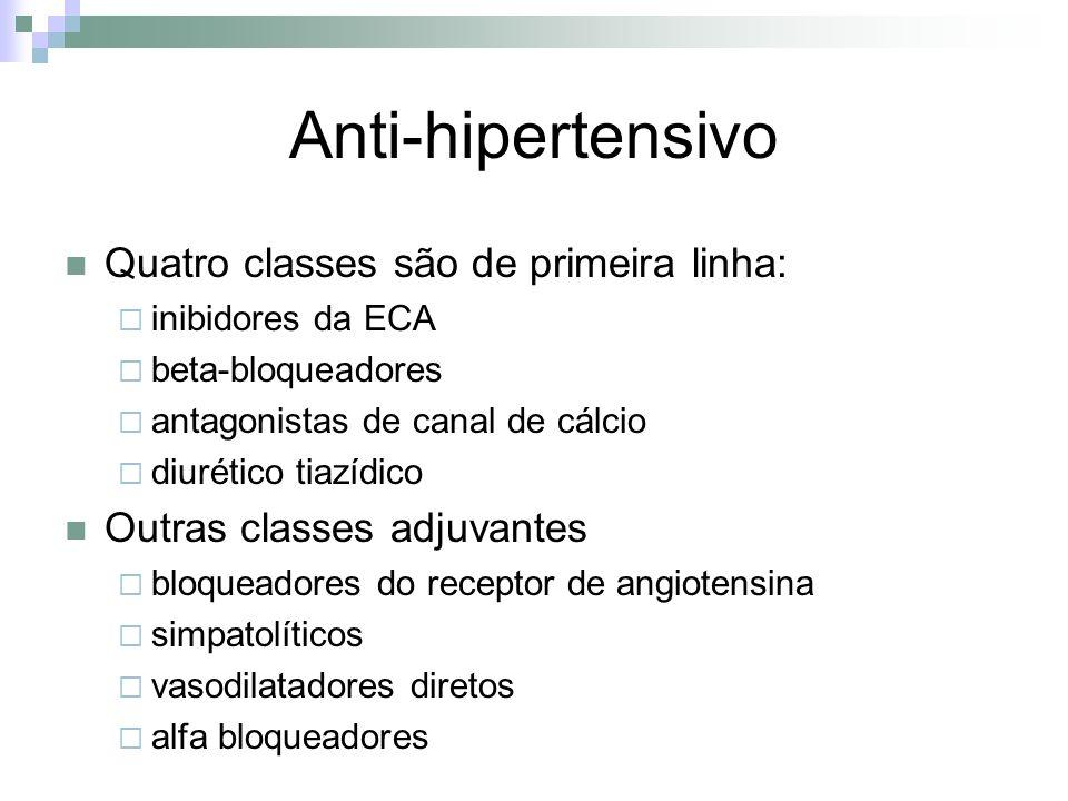 Anti-hipertensivo Quatro classes são de primeira linha: