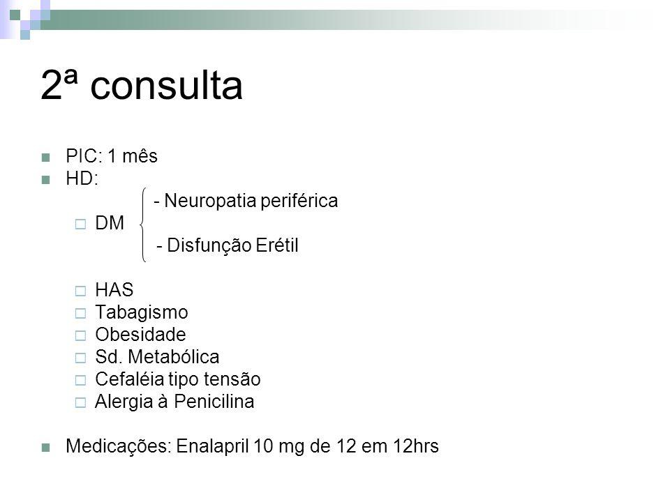 2ª consulta PIC: 1 mês HD: - Neuropatia periférica DM