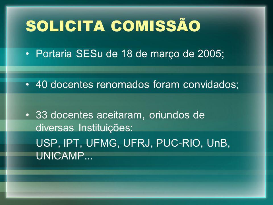 SOLICITA COMISSÃO Portaria SESu de 18 de março de 2005;