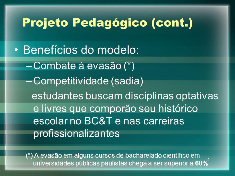 Projeto Pedagógico (cont.)