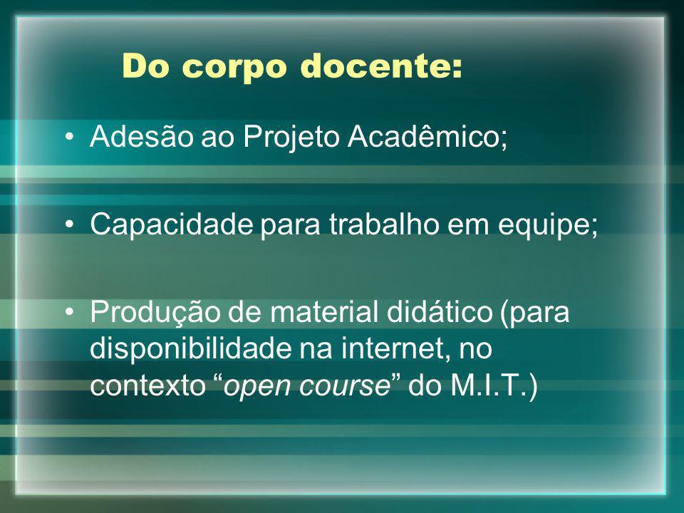 Do corpo docente: Adesão ao Projeto Acadêmico;