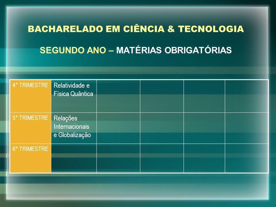 BACHARELADO EM CIÊNCIA & TECNOLOGIA SEGUNDO ANO – MATÉRIAS OBRIGATÓRIAS