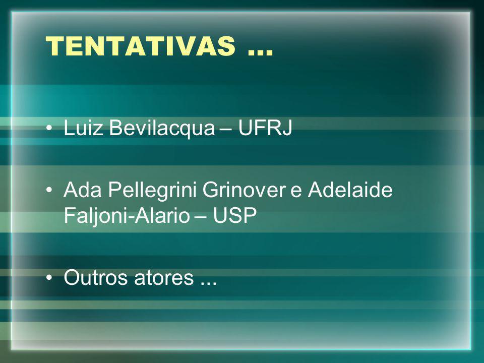 TENTATIVAS ... Luiz Bevilacqua – UFRJ