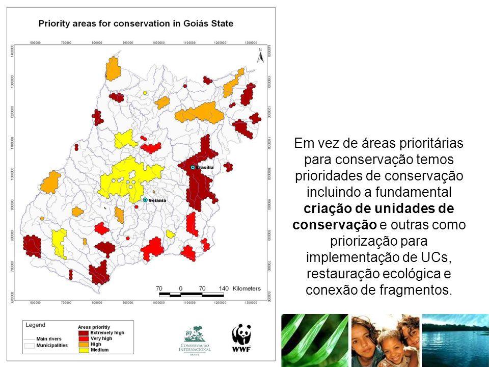 Em vez de áreas prioritárias para conservação temos prioridades de conservação incluindo a fundamental criação de unidades de conservação e outras como priorização para implementação de UCs, restauração ecológica e conexão de fragmentos.