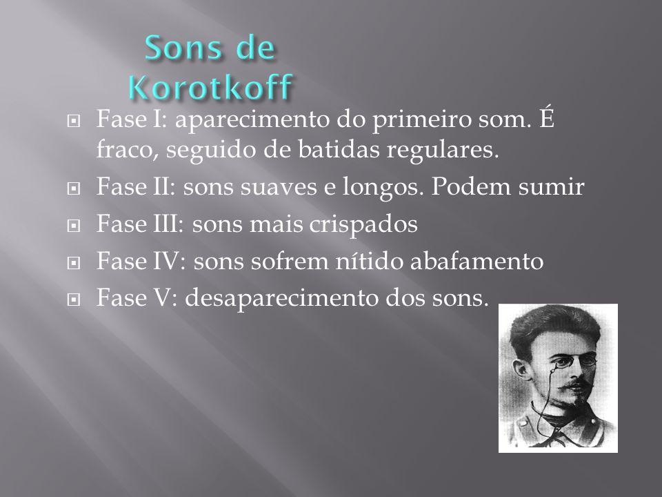 Sons de Korotkoff Fase I: aparecimento do primeiro som. É fraco, seguido de batidas regulares. Fase II: sons suaves e longos. Podem sumir.
