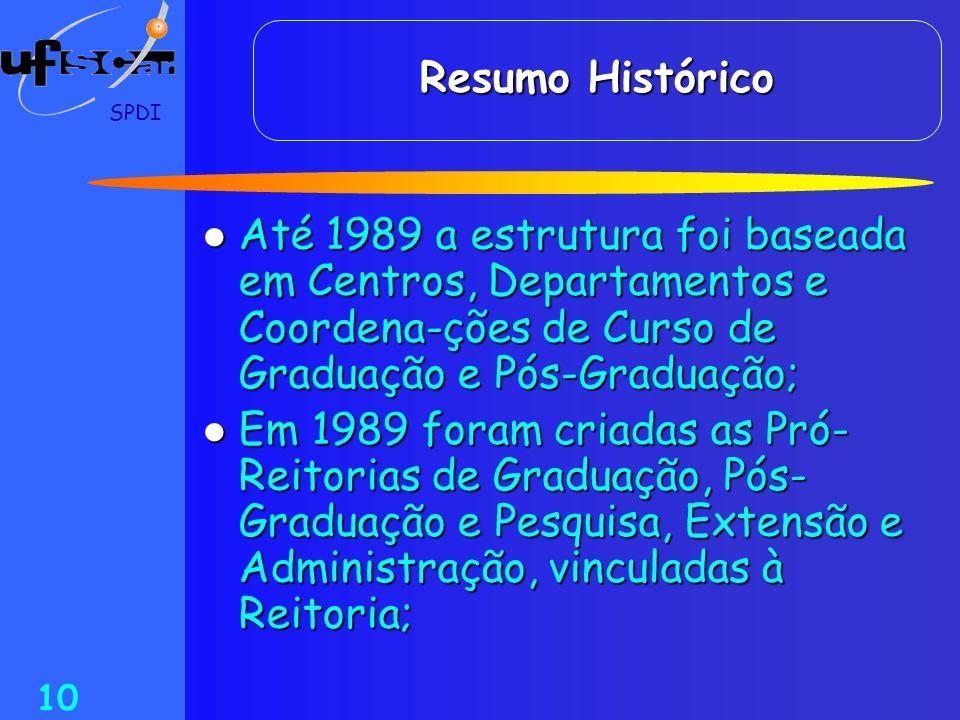 Resumo Histórico SPDI. Até 1989 a estrutura foi baseada em Centros, Departamentos e Coordena-ções de Curso de Graduação e Pós-Graduação;