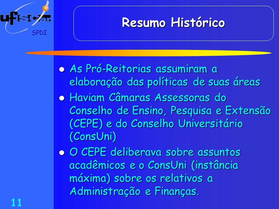 Resumo Histórico SPDI. As Pró-Reitorias assumiram a elaboração das políticas de suas áreas.