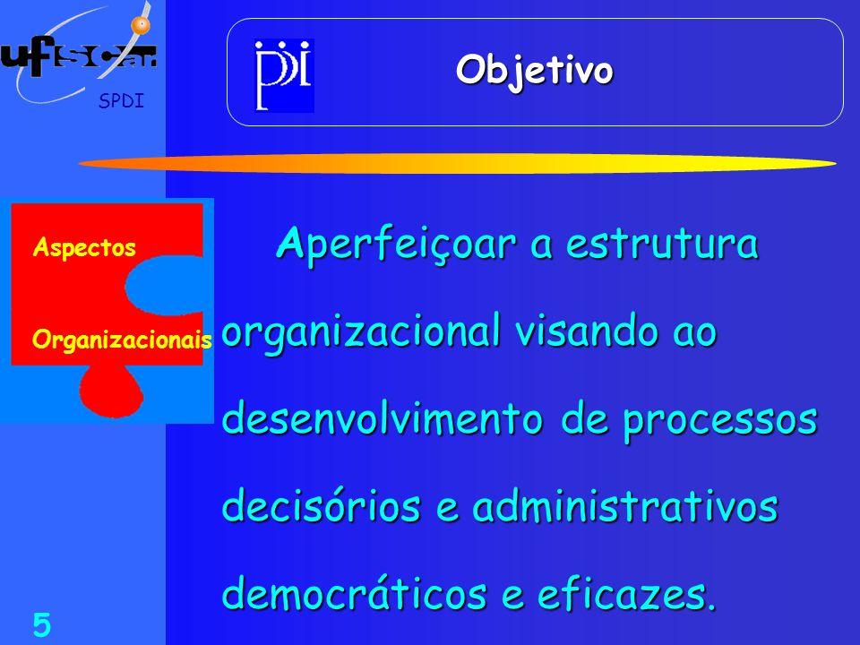 Objetivo SPDI. Aperfeiçoar a estrutura organizacional visando ao desenvolvimento de processos decisórios e administrativos democráticos e eficazes.