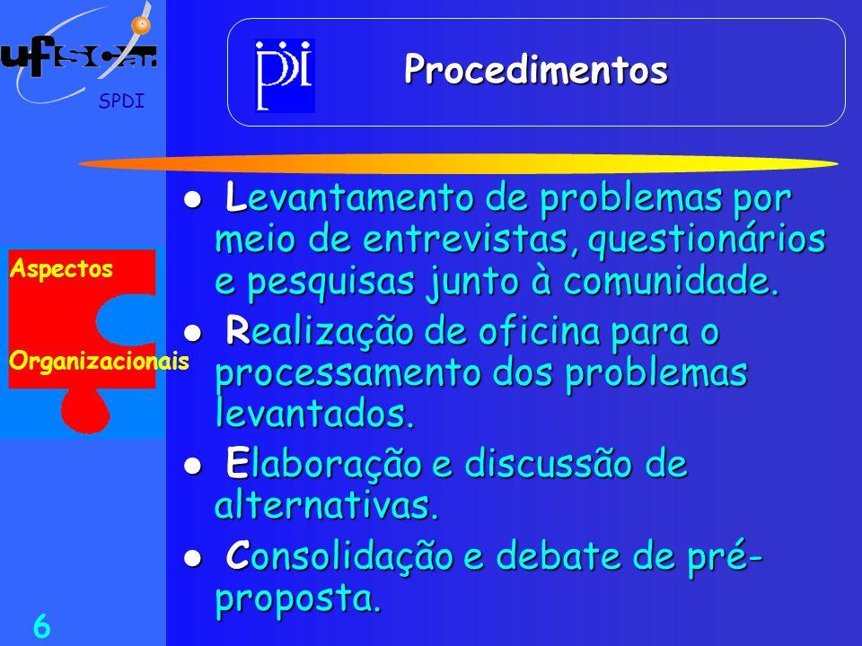 Realização de oficina para o processamento dos problemas levantados.