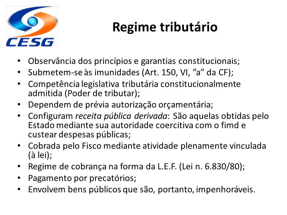 Regime tributário Observância dos princípios e garantias constitucionais; Submetem-se às imunidades (Art. 150, VI, a da CF);