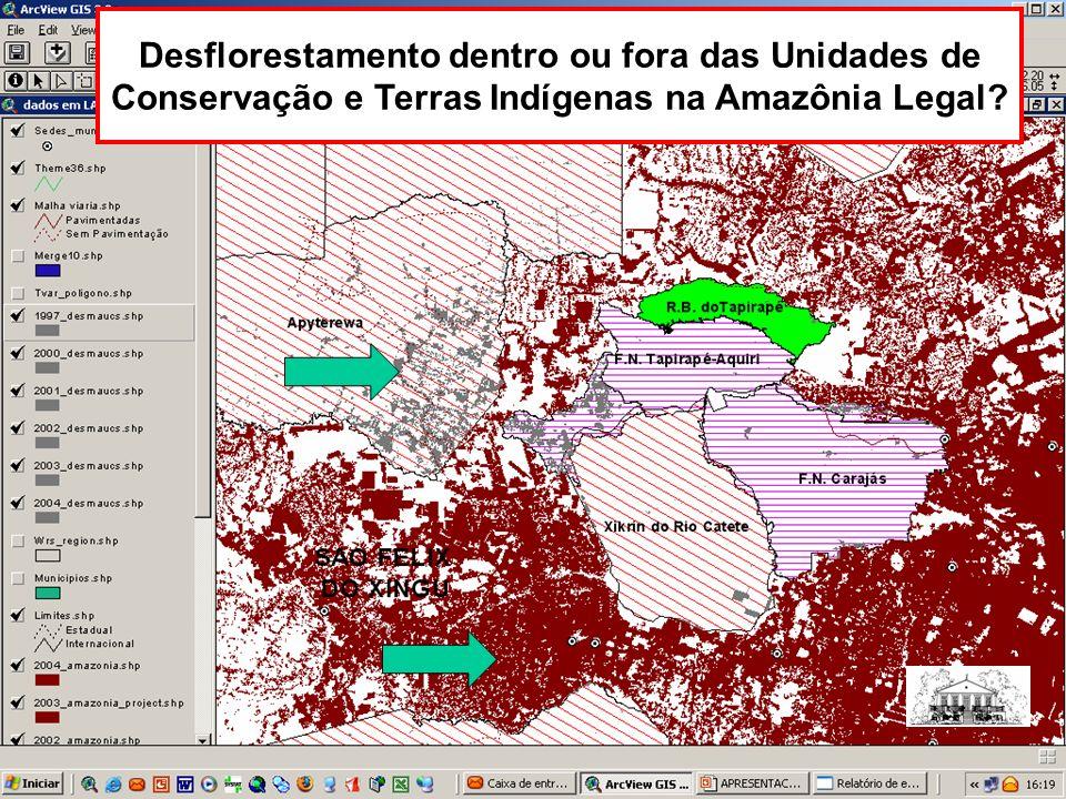 Desflorestamento dentro ou fora das Unidades de Conservação e Terras Indígenas na Amazônia Legal