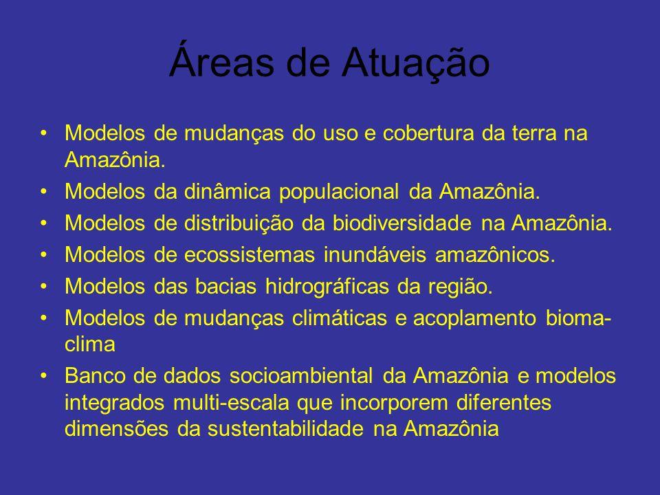 Áreas de Atuação Modelos de mudanças do uso e cobertura da terra na Amazônia. Modelos da dinâmica populacional da Amazônia.