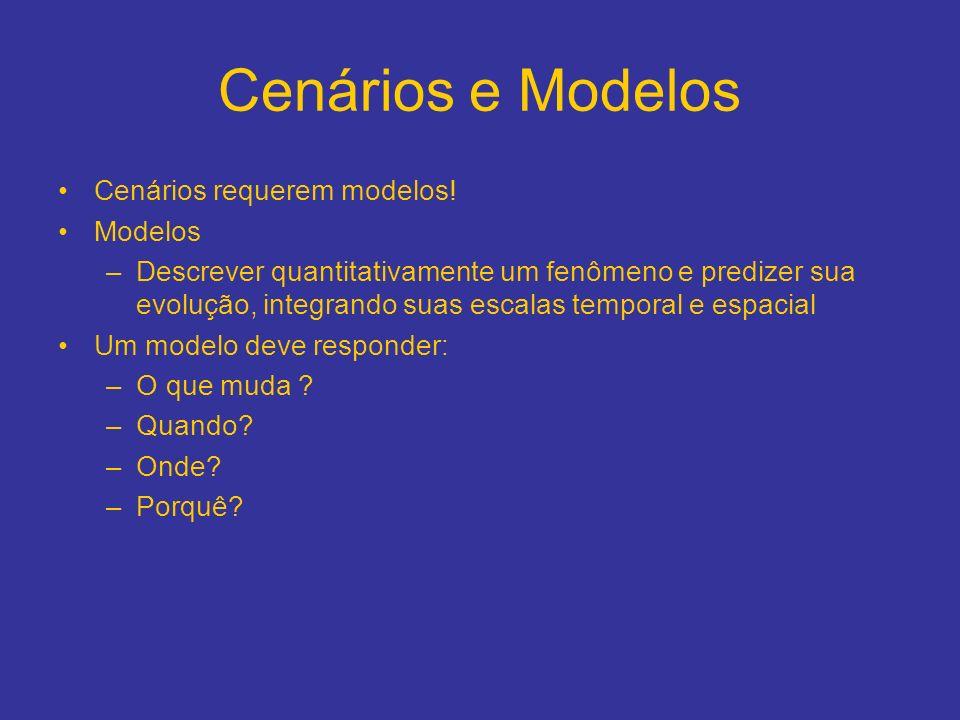 Cenários e Modelos Cenários requerem modelos! Modelos