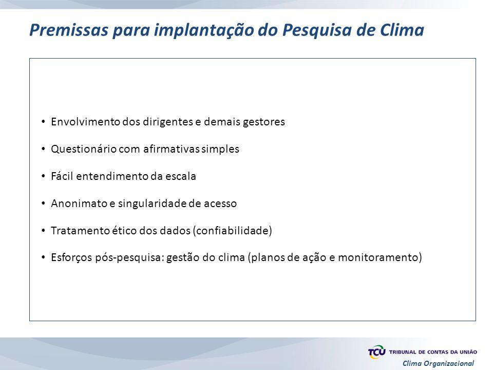 Premissas para implantação do Pesquisa de Clima