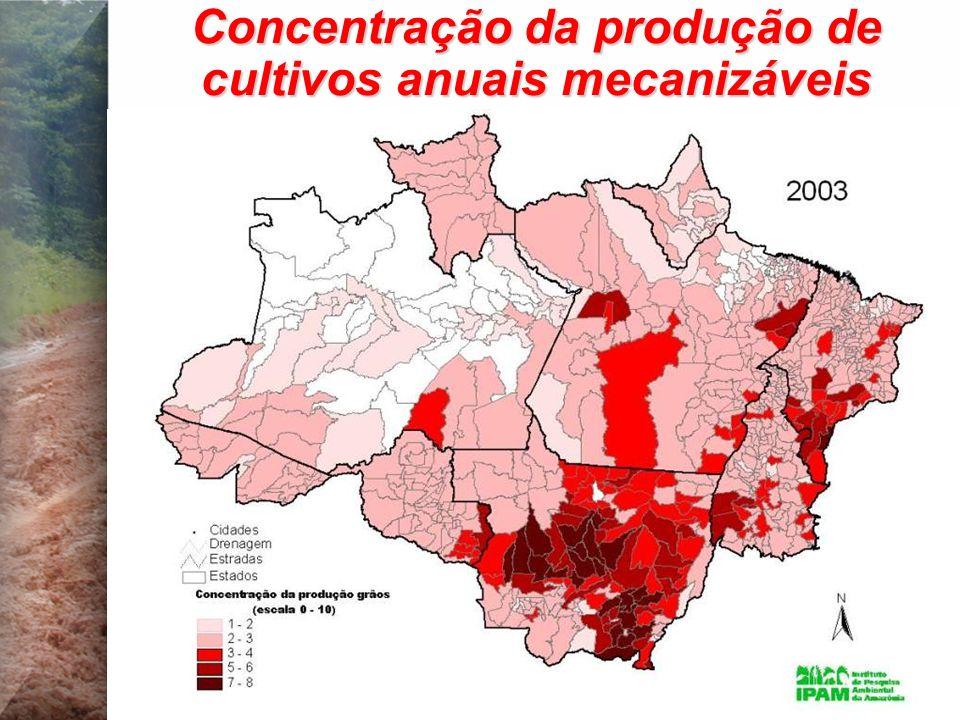 Concentração da produção de cultivos anuais mecanizáveis