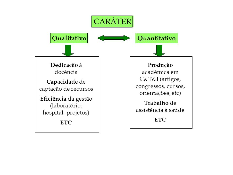 CARÁTER Qualitativo Quantitativo Dedicação à docência