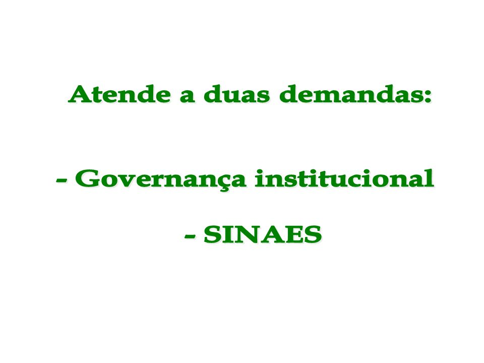 Atende a duas demandas: - Governança institucional