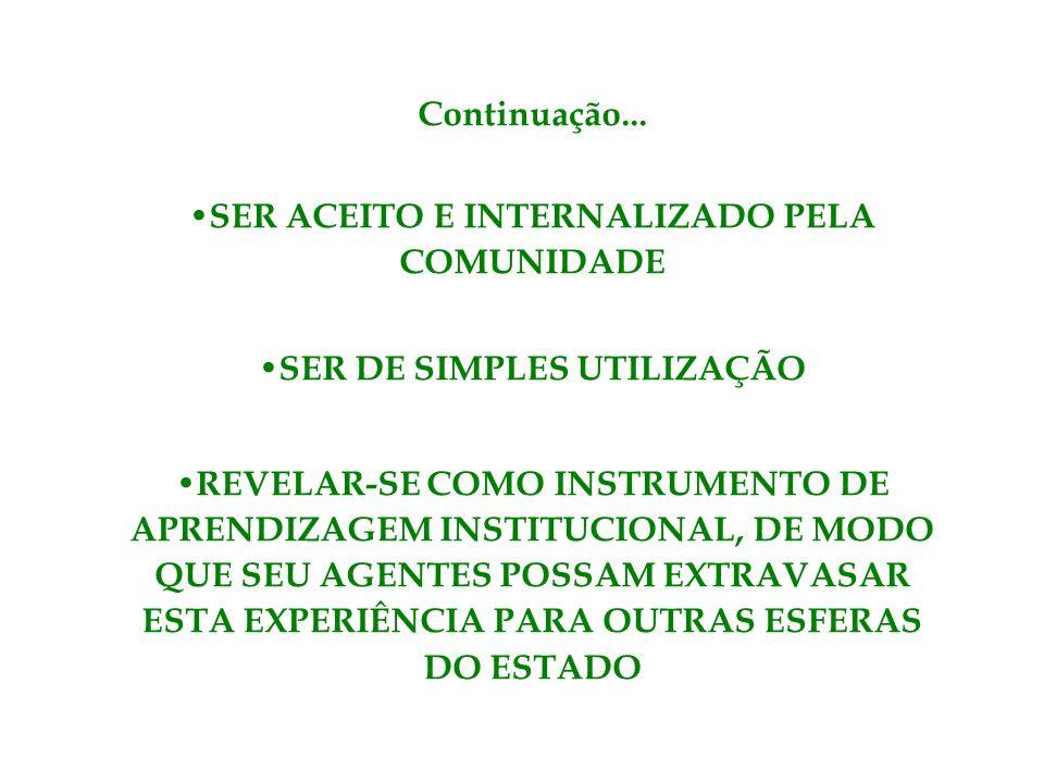 SER ACEITO E INTERNALIZADO PELA COMUNIDADE SER DE SIMPLES UTILIZAÇÃO