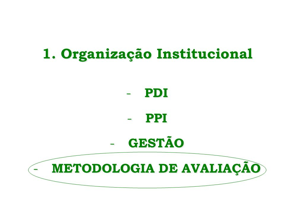 1. Organização Institucional METODOLOGIA DE AVALIAÇÃO