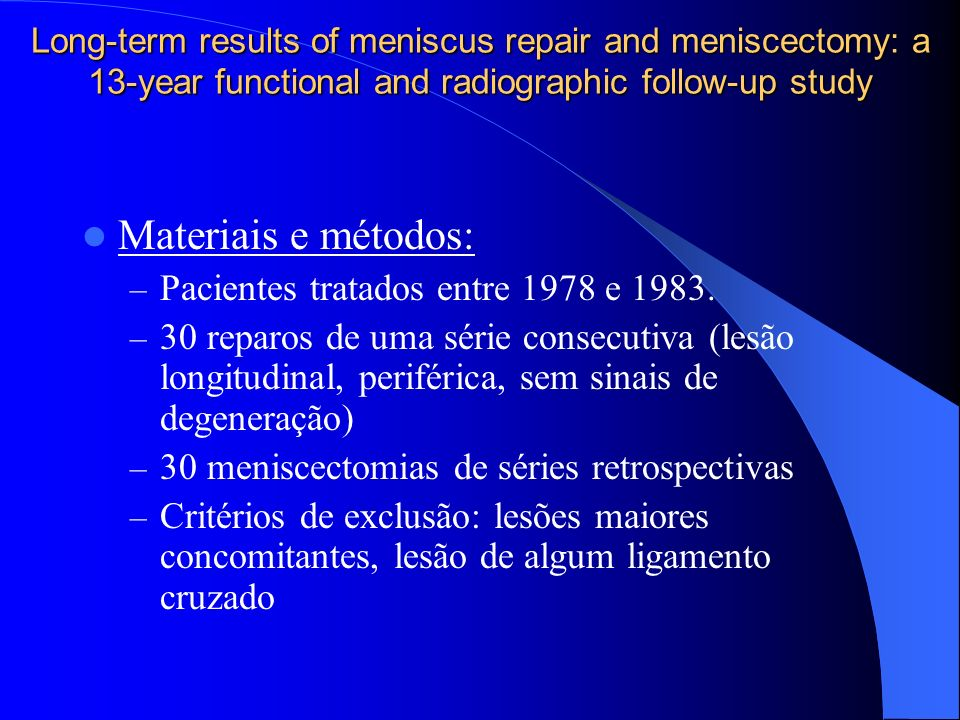 Materiais e métodos: Pacientes tratados entre 1978 e 1983.