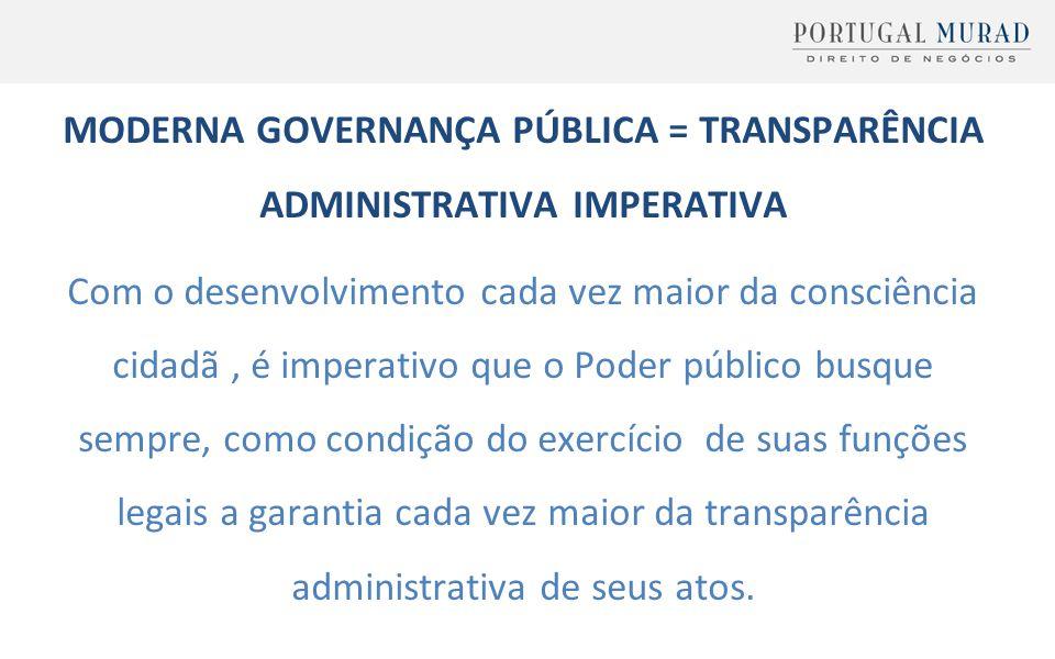 MODERNA GOVERNANÇA PÚBLICA = TRANSPARÊNCIA ADMINISTRATIVA IMPERATIVA