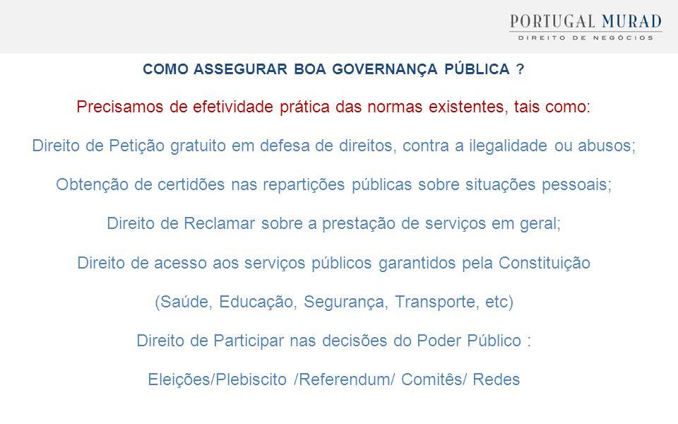 COMO ASSEGURAR BOA GOVERNANÇA PÚBLICA