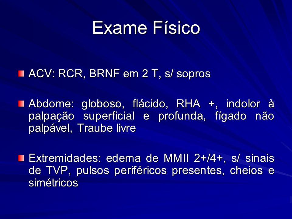 Exame Físico ACV: RCR, BRNF em 2 T, s/ sopros