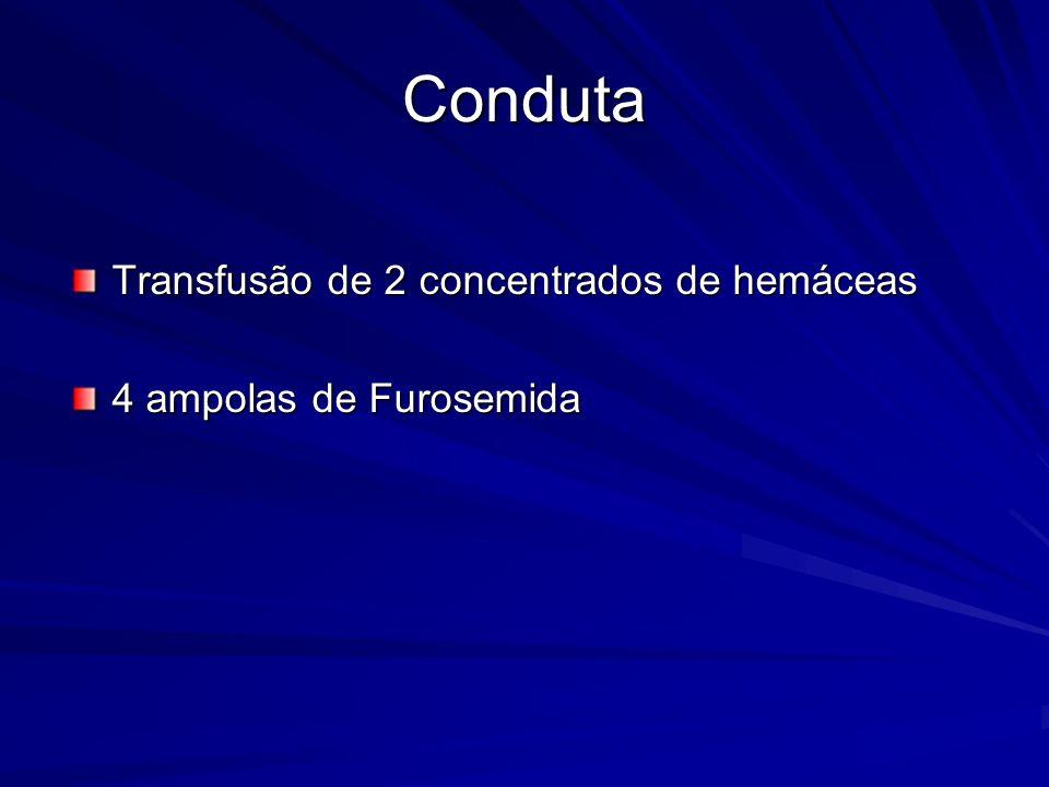 Conduta Transfusão de 2 concentrados de hemáceas