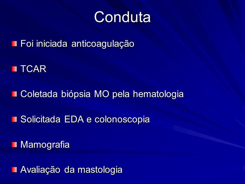 Conduta Foi iniciada anticoagulação TCAR