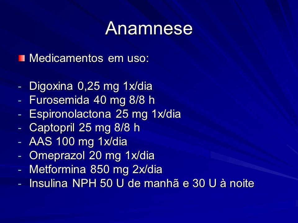 Anamnese Medicamentos em uso: Digoxina 0,25 mg 1x/dia