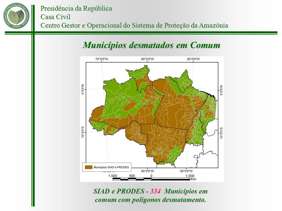 SIAD e PRODES - 334 Municípios em comum com polígonos desmatamento.