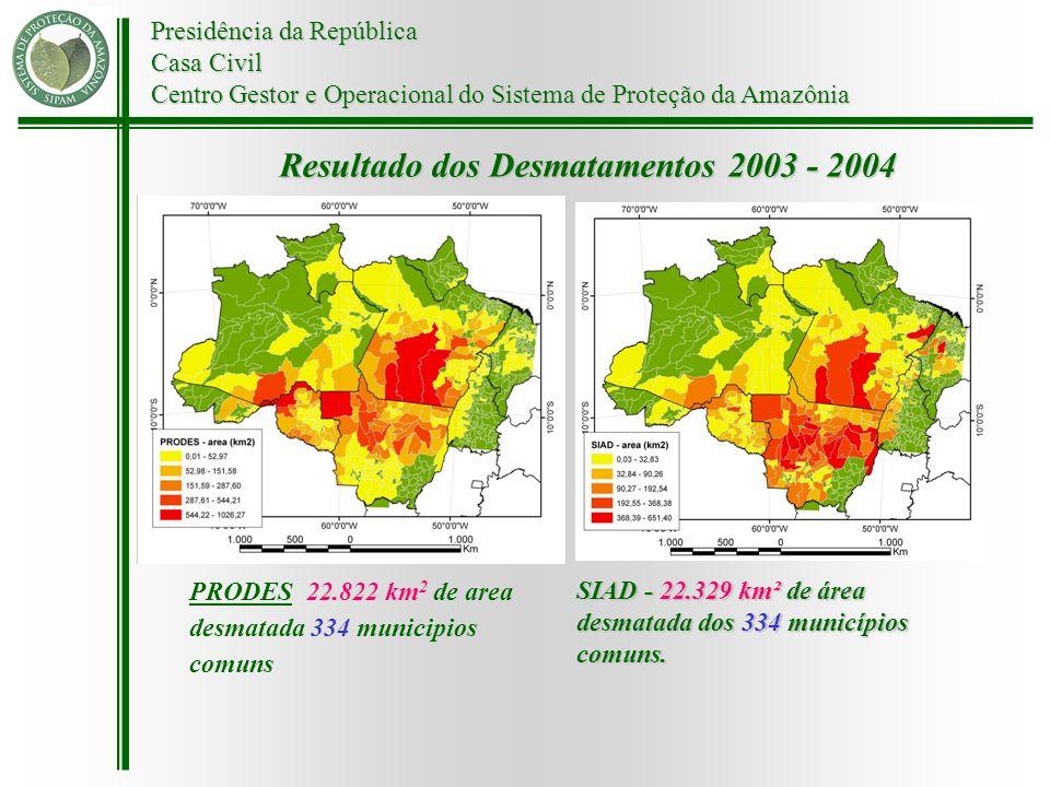 Resultado dos Desmatamentos 2003 - 2004