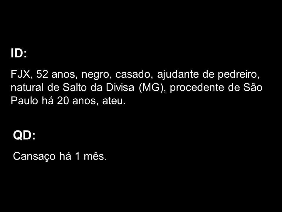 ID: FJX, 52 anos, negro, casado, ajudante de pedreiro, natural de Salto da Divisa (MG), procedente de São Paulo há 20 anos, ateu.