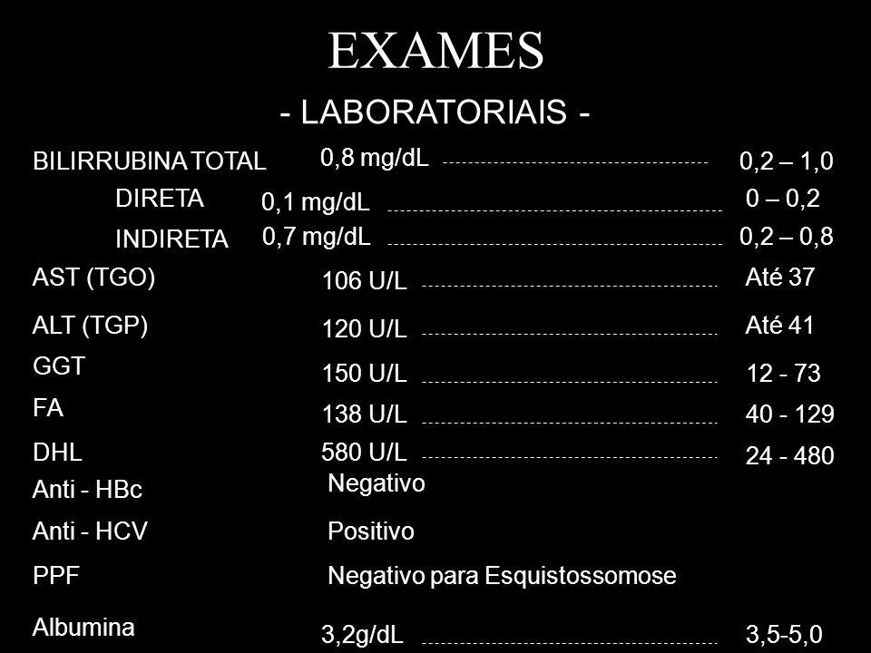 EXAMES - LABORATORIAIS - BILIRRUBINA TOTAL 0,8 mg/dL 0,2 – 1,0 DIRETA