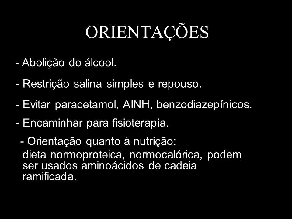 ORIENTAÇÕES - Abolição do álcool.