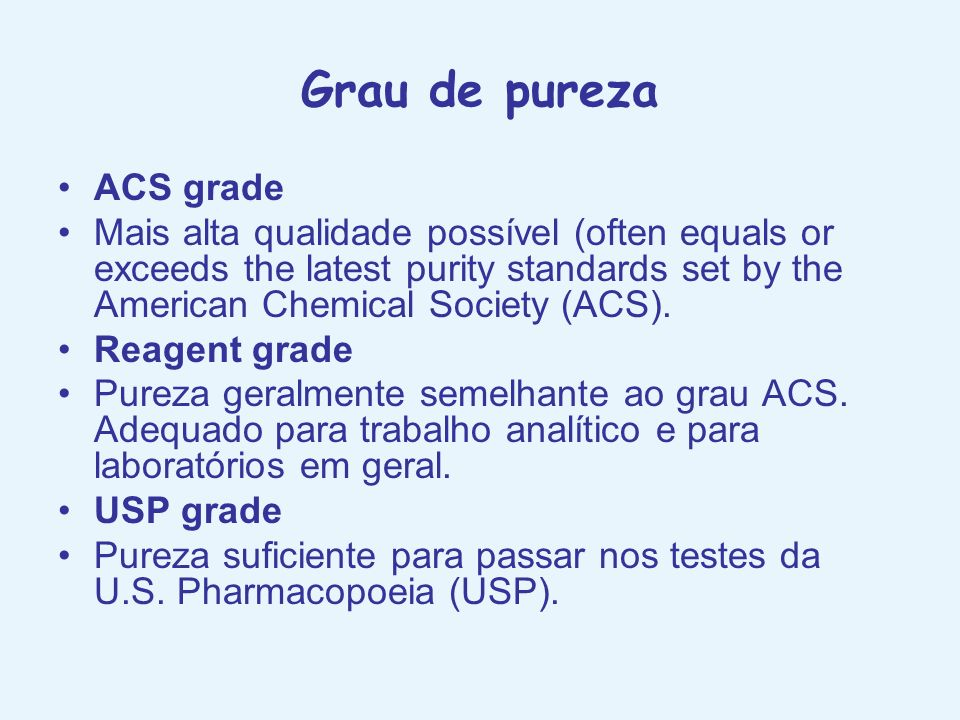 Grau de pureza ACS grade