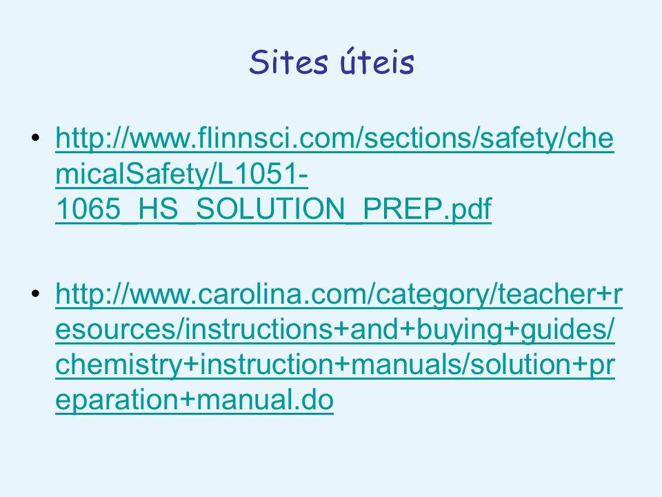 Sites úteishttp://www.flinnsci.com/sections/safety/chemicalSafety/L1051-1065_HS_SOLUTION_PREP.pdf.