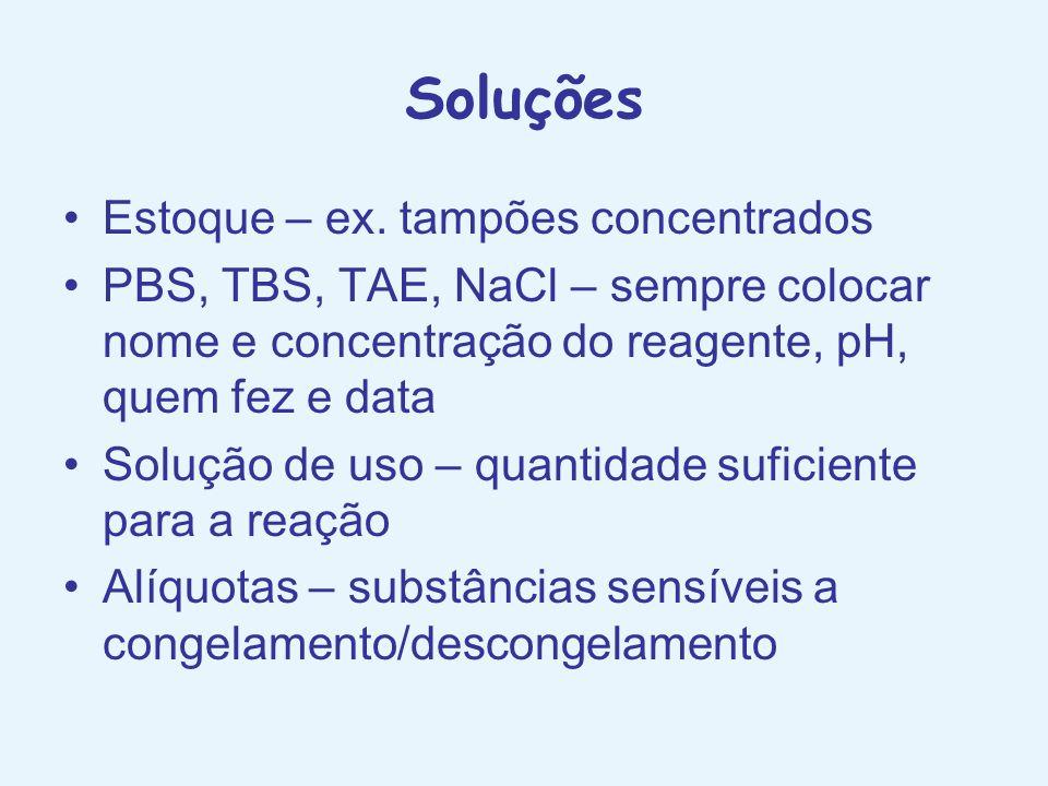 Soluções Estoque – ex. tampões concentrados