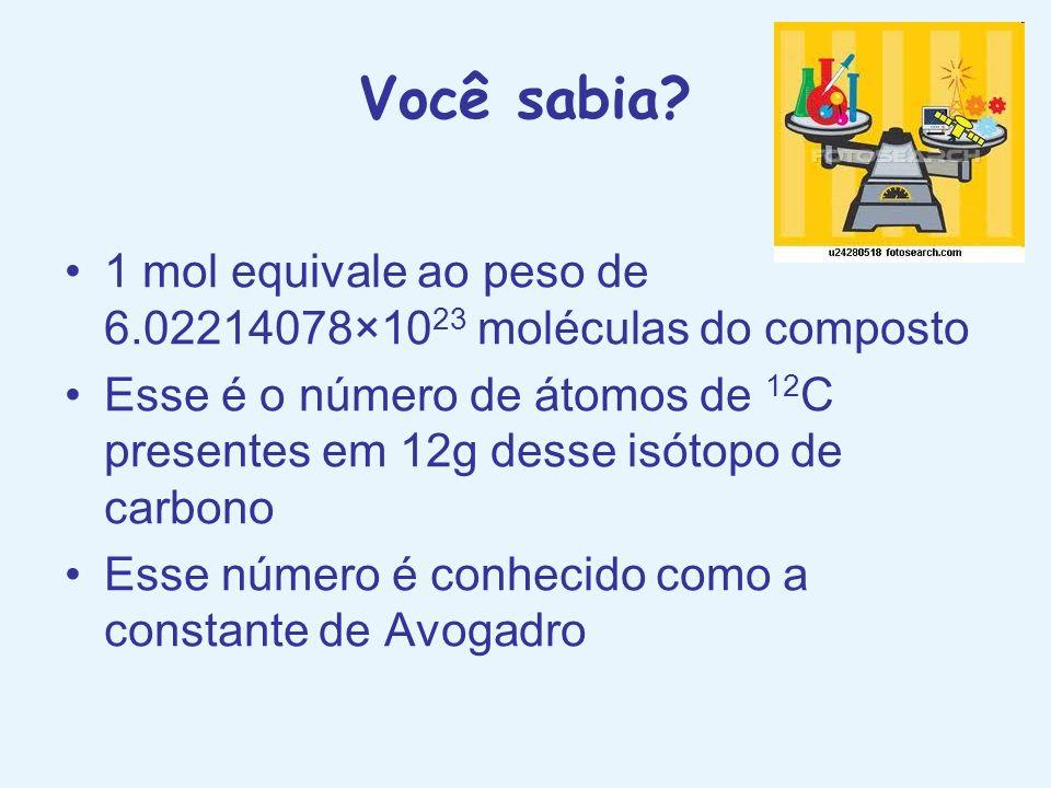 Você sabia 1 mol equivale ao peso de 6.02214078×1023 moléculas do composto.