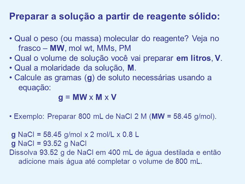 Preparar a solução a partir de reagente sólido: